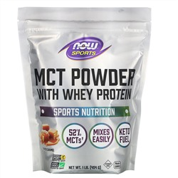 Now Foods, Sports, MCT Powder with Whey Protein, Salted Caramel, 1 lb (454 g)