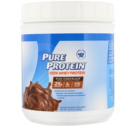Pure Protein, 100% Whey Powder, Rich Chocolate, 1 lb (453 g)