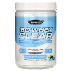 Muscletech, ISO Whey Clear, Ultra-Pure Protein Isolate, Lemon Berry Blizzard, 1.10 lbs (503 g)